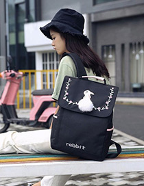 Lovely Black Embroidered Rabbit Decorated Backpack