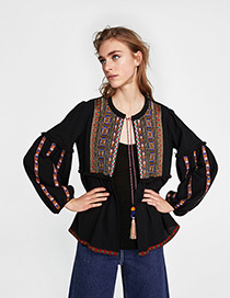 Fashion Black Embroidery Design Long Sleeves Coat