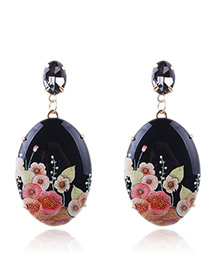 Vintage Black Flowers Pattern Decorated Earrings