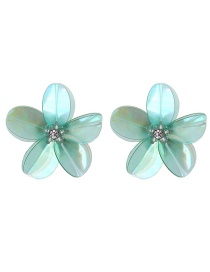 Fashion Green Flowers Decorated Pure Color Earrings