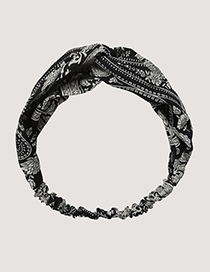 Sweet Black Flower Pattern Decorated Hair Hoop