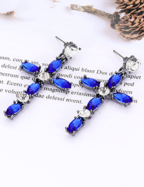 Elegant Blue+red Cross Shape Design Long Earrings