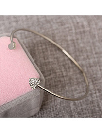 Fashion Silver Color Heart Shape Decorated Opening Bracelet