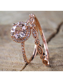 Fashion Rose Gold Round Shape Diamond Decorated Ring