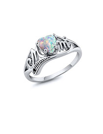 Fashion Silver Color Heart Shape Decorated Hollow Out Ring