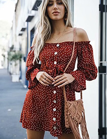 Fashion Red Dots Pattern Decorated Strapless Dress