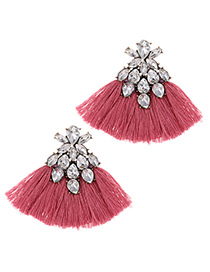 Fashion Pink Waterdrop Shape Decorated Tassel Earrings