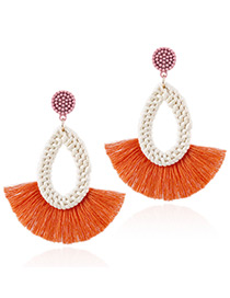 Fashion Orange Waterdrop Shape Decorated Tassel Earrings