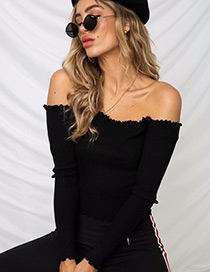 Fashion Black Strapless Design Pure Color Sweater