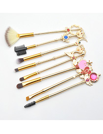 Fashion Gold Color Geometric Shape Decorated Makeup Brush(8pcs)