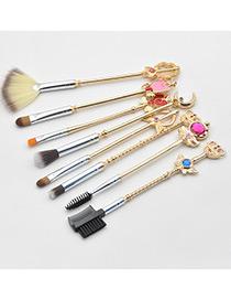Fashion Gold Color Geometric Shape Decorated Makeup Brush(8pcs)