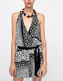 Fashion Black V Neckline Design Leopard Pattern Jumpsuit