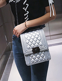 Fashion Silver Color Grids Pattern Decorated Bag