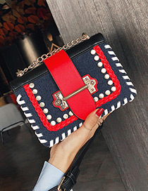 Fashion Red+blue Rivet Decorated Bag