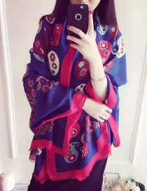 Fashion Blue+plum Red Flower Pattern Decorated Scarf