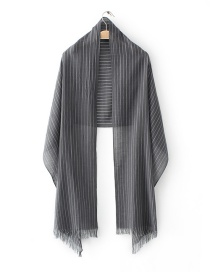 Fashion Gray Stripe Pattern Decorated Scarf