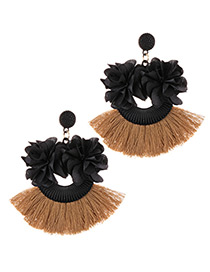 Fashion Black+khaki Flower Shape Decorated Tassel Earrings