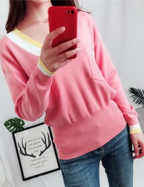 Fashion Pink V Neckline Design Sweater