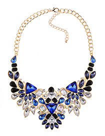 Fashion Blue Full Diamond Decorated Necklace
