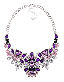 Fashion Purple Full Diamond Decorated Necklace