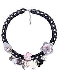 Fashion Gray Flower Shape Decorated Necklace