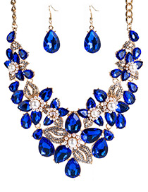 Fashion Blue Water Drop Shape Decorated Jewelry Set