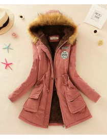 Fashion Pink Pure Color Decorated Coat