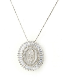 Fashion Silver Color Oval Shape Decorated Necklace