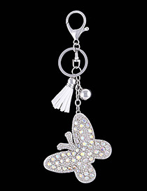 Fashion White Butterfly Shape Decorated Keychain