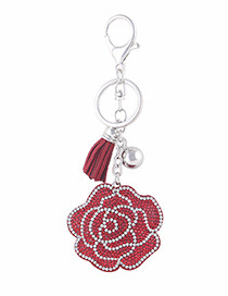 Fashion Red Flower Shape Decorated Keychain