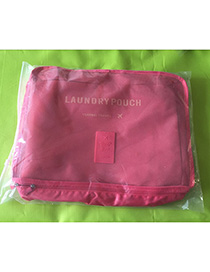 Fashion Dark Pink Pure Color Decorated Storage Bag(6pcs)