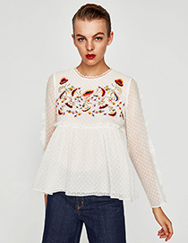 Fashion White Flower Pattern Decorated Blouse