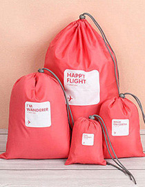 Fashion Red Letter Pattern Decorated Storage Bag(4pcs)