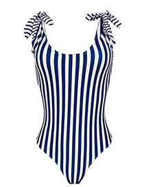 Fashion Blue+white Stripe Pattern Decorated Swimwear