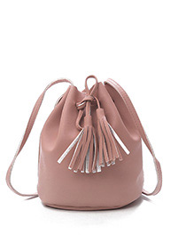 Fashion Pink Tassel Decorated Pure Color Shoulder Bag