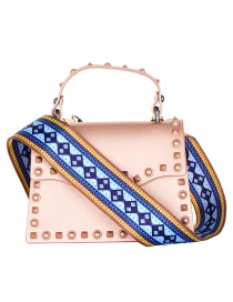 Fashion Blue+yellow Square Pattern Decorated Bag Belt