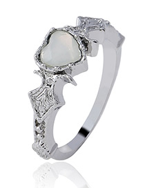 Fashion Silver Color Heart Shape Decorated Ring