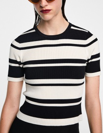 Fashion Black+white Stripe Pattern Decorated Sweater