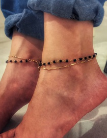 Simple Black+gold Color Bead Decorated Anklet
