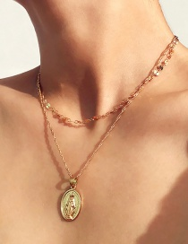 Vintage Gold Color Jesus Pendant Decorated Pure Color Choker