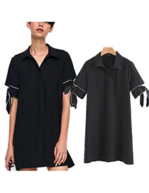 Trendy Black Pure Color Design Loose Dress