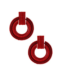 Fashion Red Circular Ring Design Pure Color Earrings