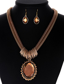 Fashion Gold Color Round Shape Gemstone Decorated Jewelry Sets