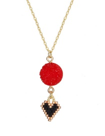 Vintage Gold Color+red Heart Shape Pendant Decorated Necklace