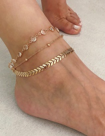 Fashion Gold Color Diamond Decorated Multi-layer Anklet