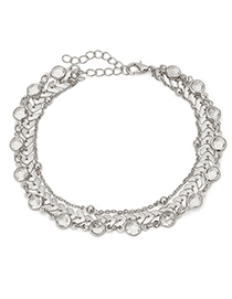 Fashion Silver Color Diamond Decorated Multi-layer Anklet