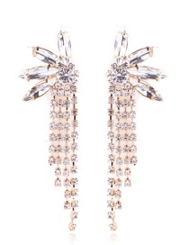 Fashion Gold Color Full Diamond Decorated Tassel Earrings