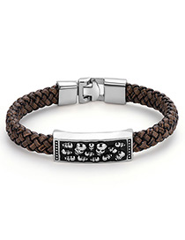 Fashion Brown+silver Color Skull Pattern Decorated Bracelet