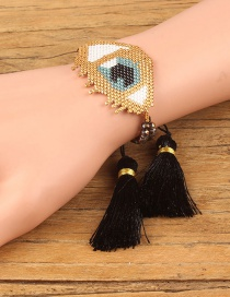 Fashion Black Eye Shape Decorated Tassel Bracelet