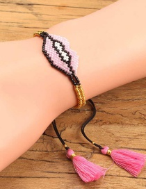 Fashion Pink Lips Shape Decorated Tassel Bracelet